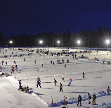 Canadians Playing Hockey Outdoors