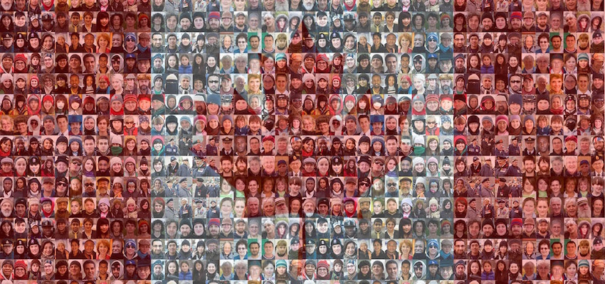 Canadian Flag With Mosaic of Faces